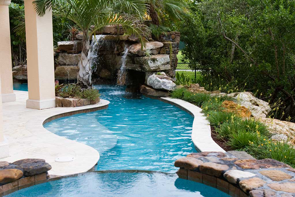 lagoon pool with tennessee field stone grotto and spa designed by lucas congdon. Black Bedroom Furniture Sets. Home Design Ideas